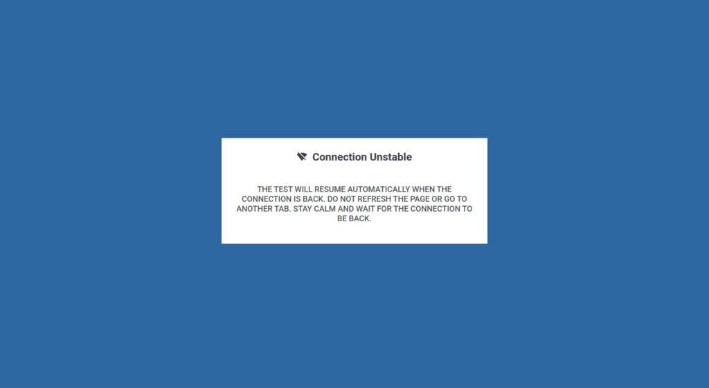 Unstable Internet Connection Pop-up Disclaimer